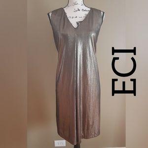 Eci Sleeveless Metallic Flare Party Dress size L